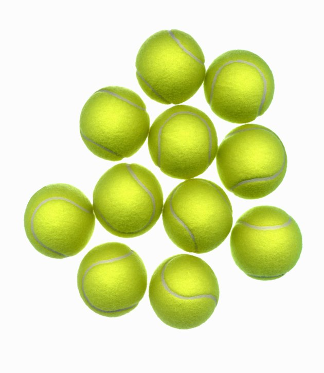 Group of tennis balls on white background