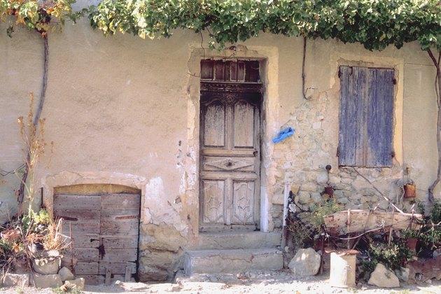 Worn cottage exterior