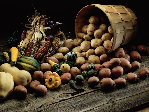 Close-up of vegetables spilling from a basket