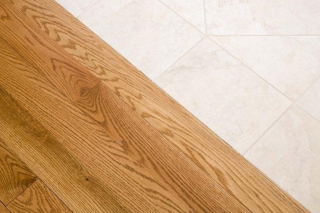 Wooden floor and tile floor