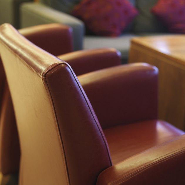 Side view of brown leather chair