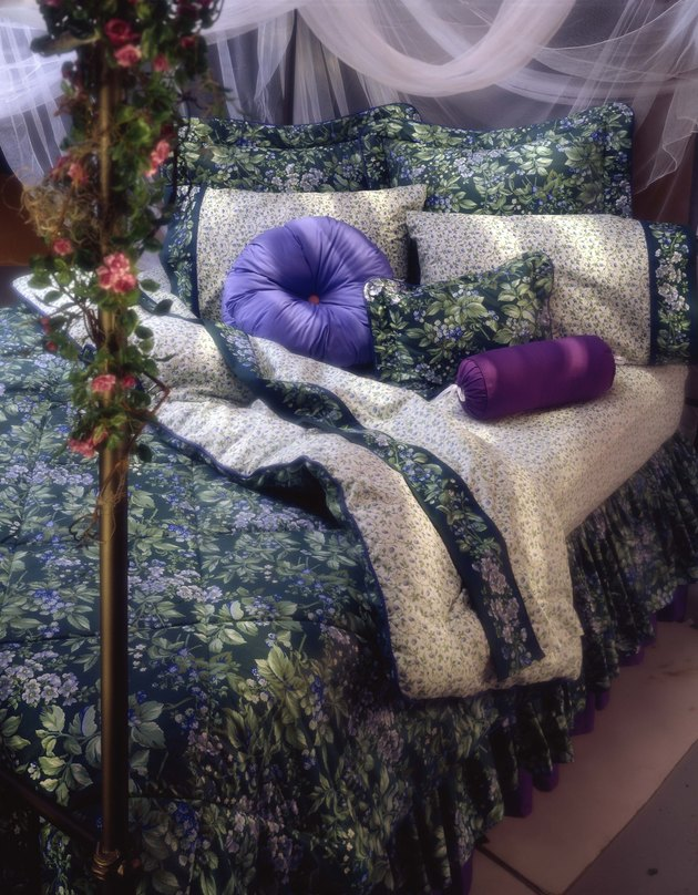 Canopy bed with flowers