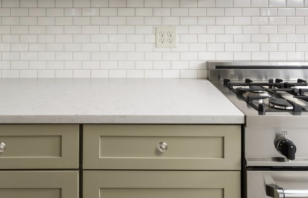 Kitchen Counter with Subway Tile, Stainless Steel oven