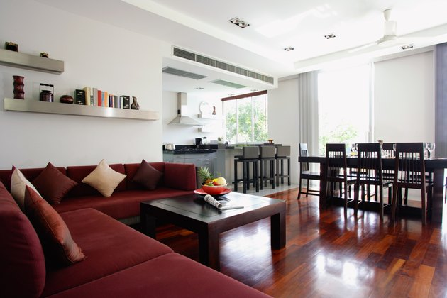 Dining room, living room, and kitchen interior