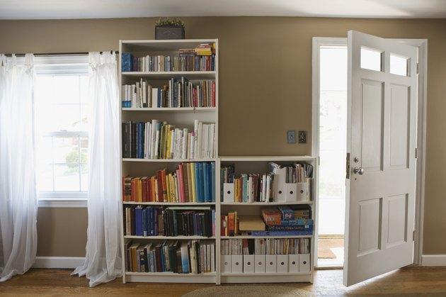 Bookshelves and open door