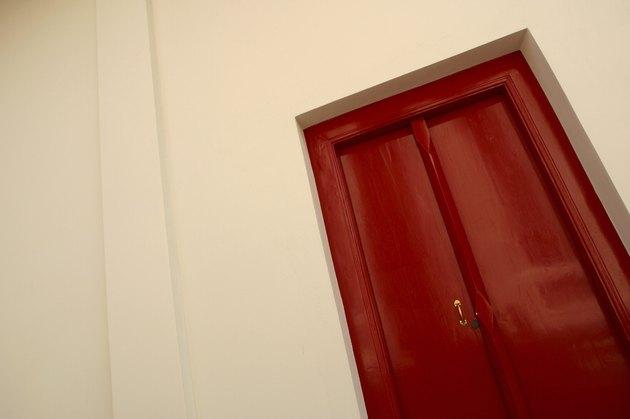 Tilted red door