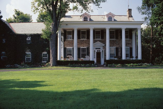 Exterior of colonial house with lawn