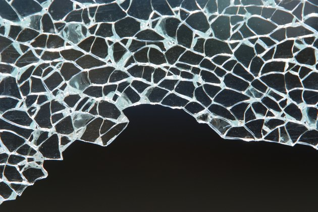 Close-up of shattered safety glass