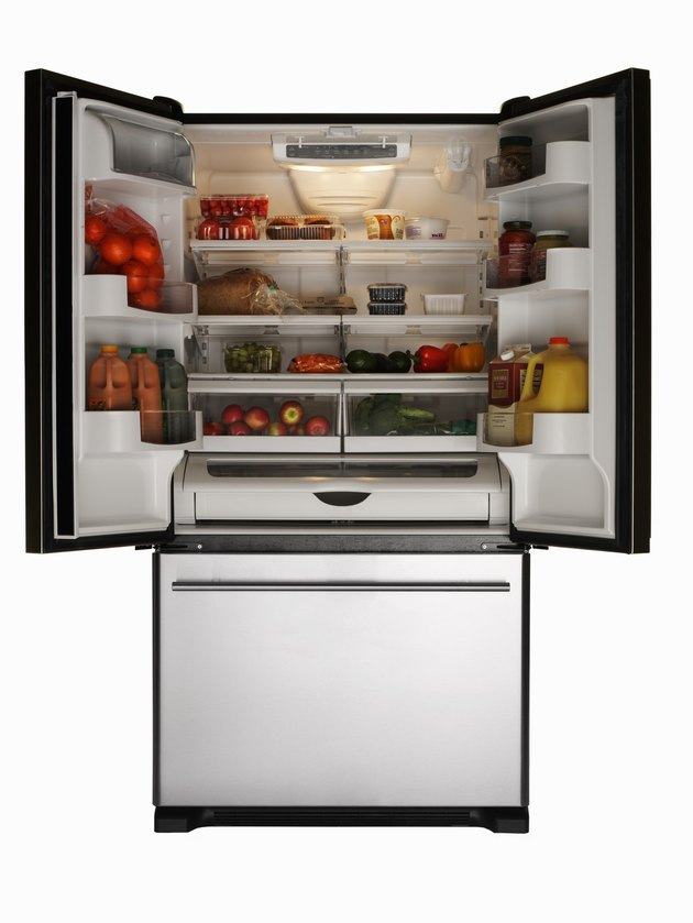 Stainless refrigerator full of healthy foods