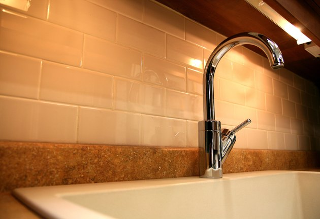 Contemporary faucet and sink in kitchen
