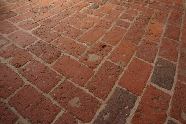 Weathered brick floor
