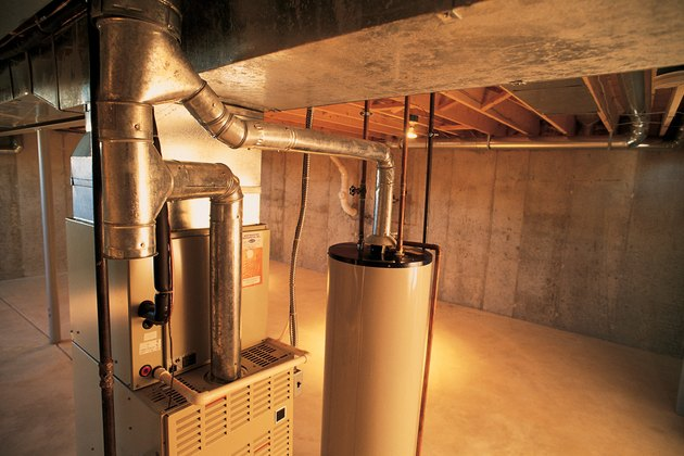 Hot water heater , gas furnace and air conditioning unit
