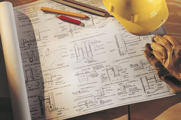 Blueprints and architect's tools