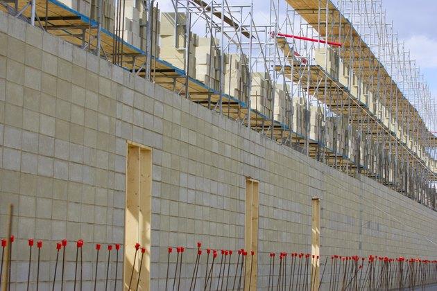 Concrete wall under construction