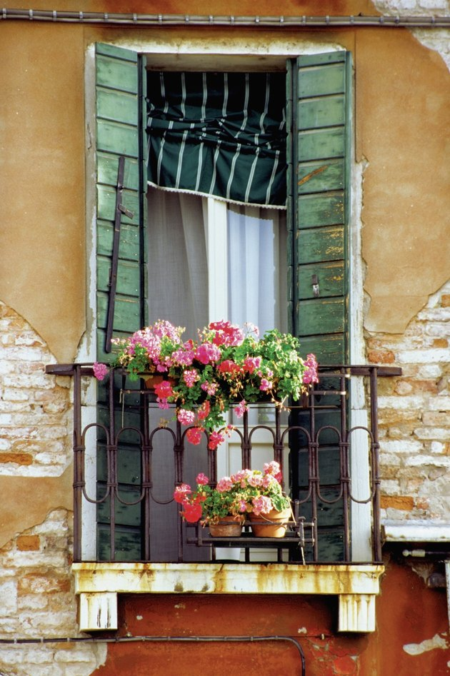 Flowers on the balcony of a house, Venice, Italy