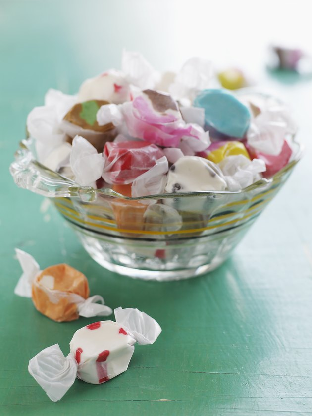 Glass Bowl of Salt Water Taffy