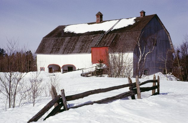 Snow covered barn in Quebec, Canada