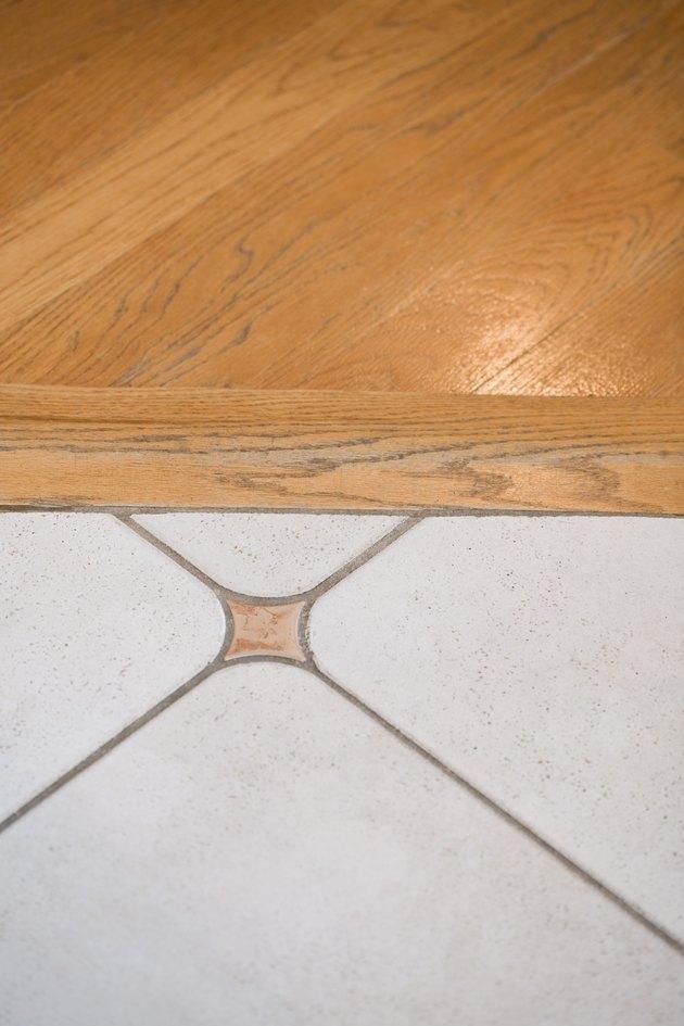Wooden and tile floor