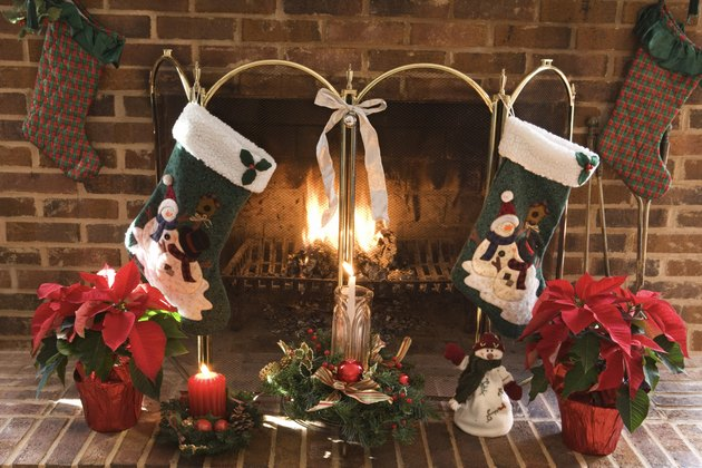 Fireplace decorated with Christmas stockings