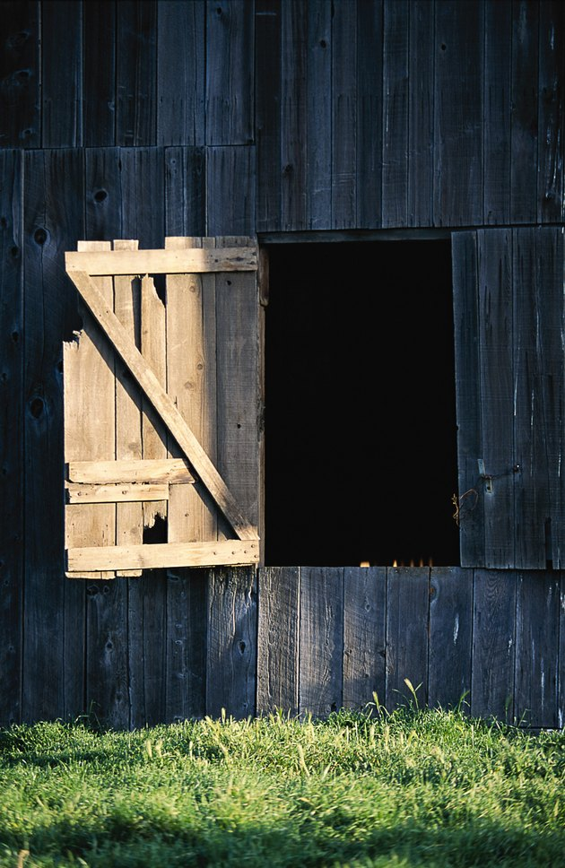 Open wooden barn door