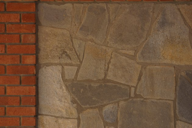 Stone wall with brick border