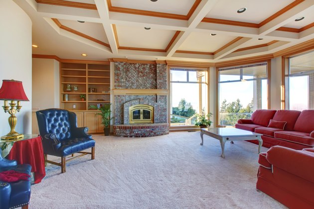Luxuriant family room with fireplace and elegant furniture