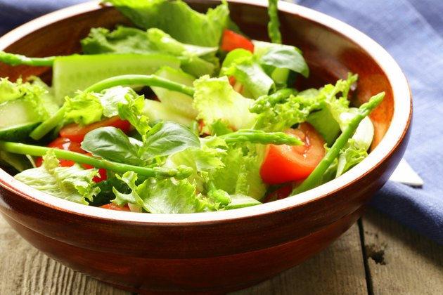 fresh green salad with tomatoes and asparagus