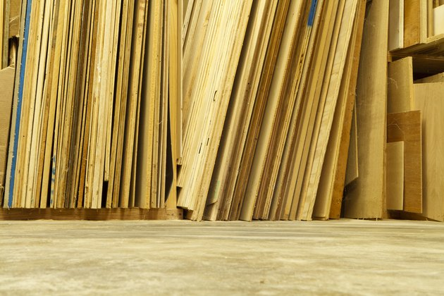 Sheets of Plywood in a Workshop