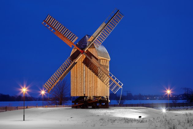 post mill in winter