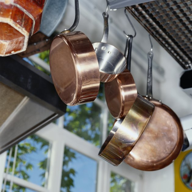 Pots and Pans Hanging in Kitchen