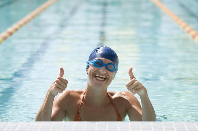 Happy swimmer - thumbs up