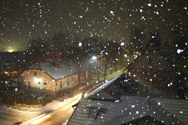 Snowy december night in Bosnia and Herzegovina