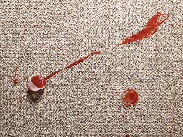 Ketchup spilled on carpet