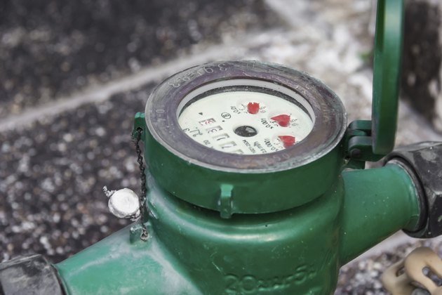 Green  Water meter close-up