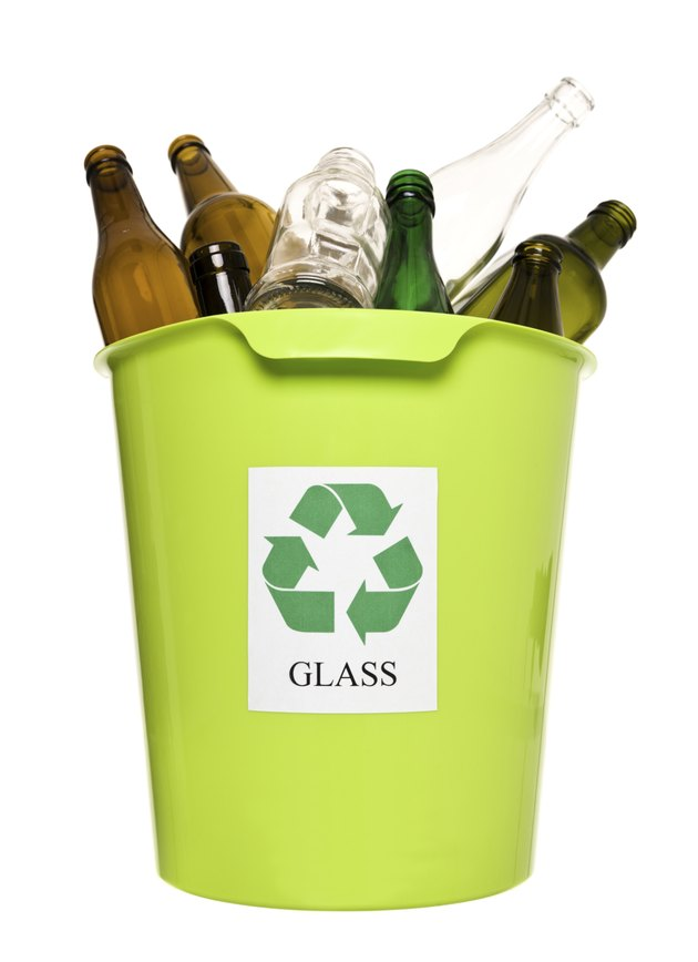 Recycling bin with glass