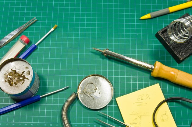 Different soldering hobby tools still life composition.