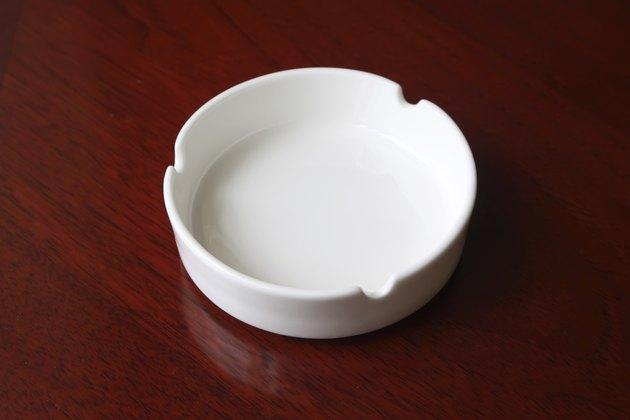 closeup of white ashtray