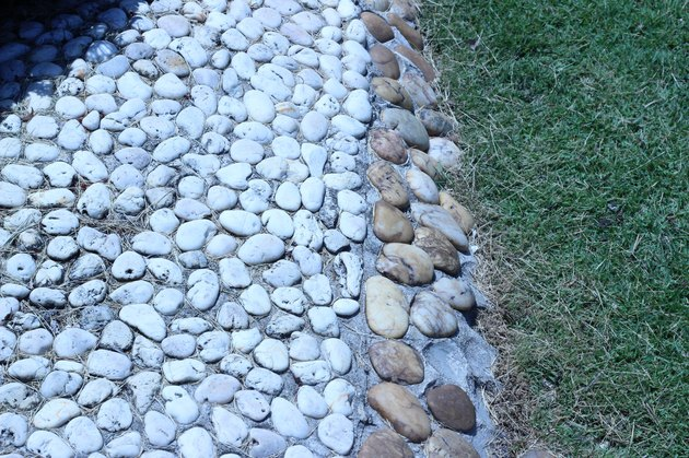 The garden walkways lined with beautiful rock