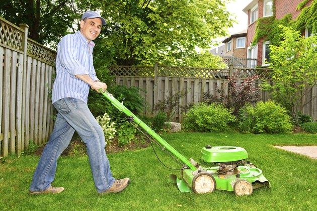 Man mowing lawn