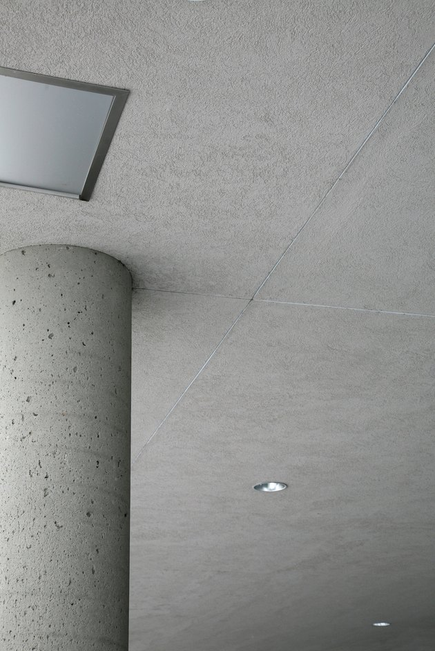 Concrete pillar under ceiling