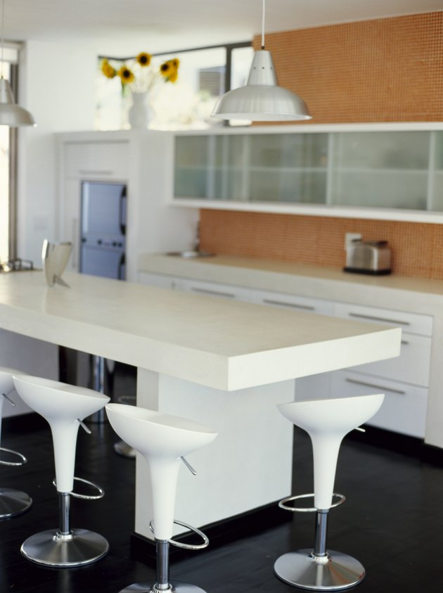 stools at a kitchen counter