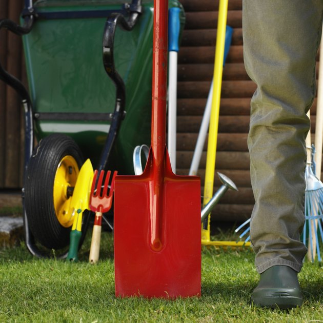 Close-up of the leg of a man standing with a shovel in a yard