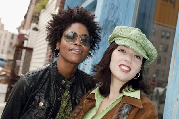 Portrait of two urban women outdoors