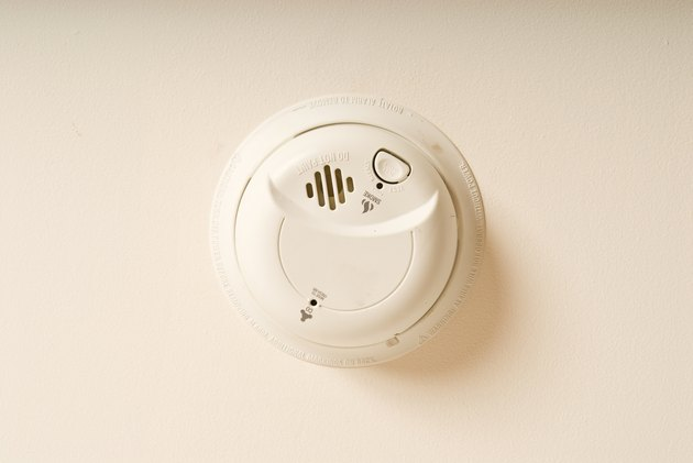 Smoke alarm on wall