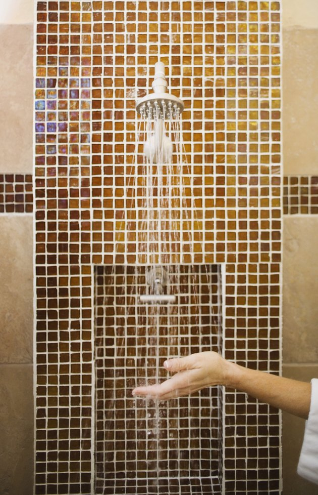 Woman under shower