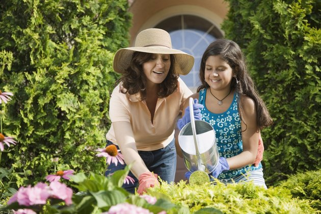 Hispanic mother and daughter watering flowers
