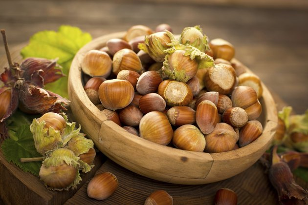 Fresh hazelnuts on the table