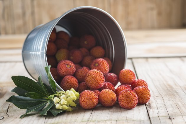 Bucket with ripe arbutus unedo fruits, leaves and flowers on a wooden background
