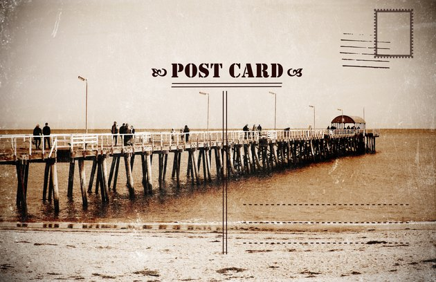 Retro vintage filter style Sepia old faded Summer Vacation postcard
