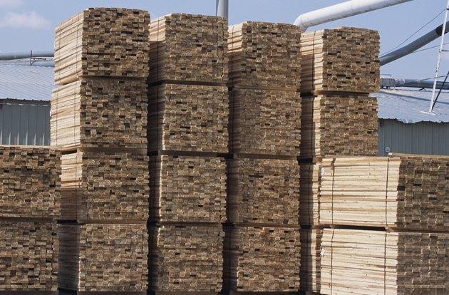 Stacked wood planks in lumber yard at large sawmill, Idaho, USA